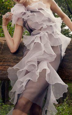 Marchesa One-Shoulder Organza Dress Click product to zoom Wedding Dress Organza, Organza Dress, Sheer Dress, Fashion Wear, Couture Fashion, Fashion Show, Textiles, Lanvin, Marchesa Fashion