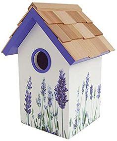 Home Bazaar Lavender Printed Standard Birdhouse Bird Houses Painted, Decorative Bird Houses, Bird Houses Diy, Painted Birdhouses, Birdhouse Craft, Birdhouse Designs, 70th Birthday Party Ideas For Mom, Homemade Bird Houses, Bird Boxes