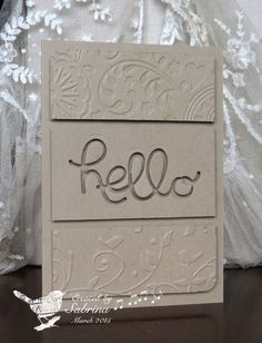handcrafted greeting card from Simply Krafty by Cook22 ... white on white ... split panel ... two embossing folder textures and one negative space HELLO on popped up panels ... great card!