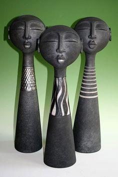 by Sue Hanna at .uk -Ceramics by Sue Hanna at . Ceramic Figures, Clay Figures, Ceramic Artists, Pottery Sculpture, Sculpture Clay, Ceramic Pottery, Pottery Art, Ceramic Mask, Arte Tribal