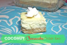 Coconut Cheesecake Protein Bars - gluten-free, only 127 cals per bar, similar texture to real cheesecake but no cream cheese!! (greek yogurt)