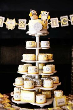 Owl Themed Yellow and Gray Twin Baby Shower Love the individual mini cakes in place of cupcakes. Great idea