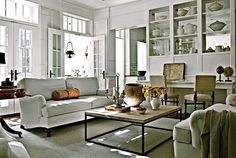 Anne Favret &  Bill Gallagher / Darryl Carter / Max Kim-Bee / Country Living {eclectic rustic classic modern white living room} by recent settlers, via Flickr