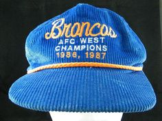 VTG Denver Broncos AFC West Champions 1986, 1987 Blue Corduroy Hat Made in USA #Unbranded #DenverBroncos