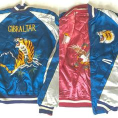Reversible Silk Bomber Souvenir Jacket Embroidered Jacket Womens M/L Mens S/M High School Vintage Japanese Sukajan Eagle Tiger Gibraltar 60s THB 17,272.73