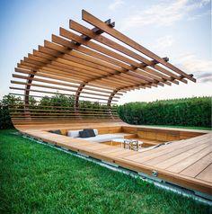 Beautiful modern pergola shading a sunken seating area Landscape Architecture, Interior Architecture, Landscape Design, Landscape Sketch, Outdoor Spaces, Outdoor Living, Design Exterior, Design Jardin, Backyard Landscaping