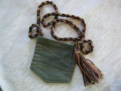 POCKET PURSE Repurposed Denim Jean Bag Green with Tassel and Stitching (6.00 USD) by APERFECTSTITCH