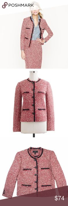 """JCREW Red Wool Tweed Boucle Jacket Blazer Mint condition. This red wool Tweed boucle jacket from JCREW features button closures, welt pockets, bracelet length sleeves and is fully lined. Made of a wool blend. Measures: bust: 37"""", total length: 21.5"""", sleeves: 22"""" J. Crew Jackets & Coats Blazers"""