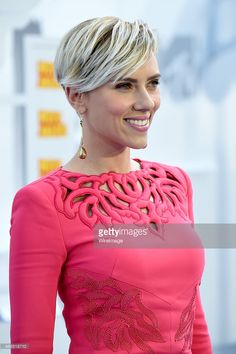 Actress Scarlett Johansson attends The 2015 MTV Movie Awards at Nokia Theatre LA Live on April 12...