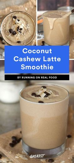 Coconut Cashew Latte Smoothie Anytime we can get a smoothie to taste like a milkshake without packing in the sugar, it's a win. This thick, creamy drink uses a small frozen banana, vanilla protein powder, cashews, shredded coconut, and coffee to mimic your favorite vanilla shake. You can also play around with it, adding in a date or two, a tablespoon of nut butter, or a few shakes of cinnamon.