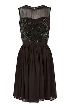 Black Embellished Bodice Dress.
