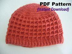 'Crocheting : Waffle stitch Hat with Ribbed brim $4.00