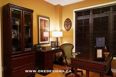 Andrea Guerriero - DRE DESIGNS - www.dredesigns.ca This client's Office was done with BOMBAY furniture and BENJAMIN MOORE paint HC-41 Richmond Gold
