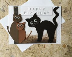 Handmade Cats birthday card Made with Love Blank insert White envelope included Comes in plastic sleeve Card is shipped in between two cardboards and posted in a padded postal envelope. Birthday Cards, Happy Birthday, Wedding Cards Handmade, White Envelopes, Scrapbook, Etsy, Pictures, Card Card, Favours