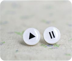 Play and Pause little earrings - musical gift - Free shipping - rusteam, oht. $14.00, via Etsy.