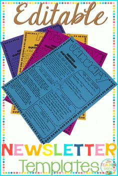 Keep your PreK, kindergarten, grade parents up to date with these printable editable colorful newsletter templates. You can print or email them to keep families involved in their child's learning, achievements, activities. First Year Teaching, Primary Teaching, Teaching Activities, Teaching Ideas, Teaching Resources, Preschool Newsletter, Classroom Newsletter, Free Preschool, Preschool Lessons