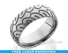 Titanium Wedding Band,Custom Made Titanium Ring,Grooved,Tire Pattern,Brushed,Titanium Anniversary Band,Fashion Ring,Free Engraving,Mens Ring