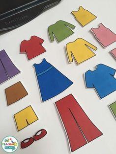 Vocabulary Printables - Let's Get Dressed - File Folder Game