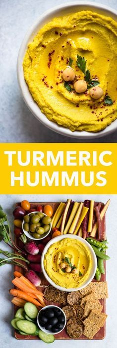 GOLDEN Turmeric Hummus - an easy and healthy vegan hummus that is great as a snack! Ready in just 10 minutes!