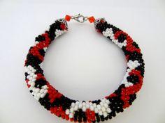 Red Black and White Nepal Beaded Crochet by lesperlesdeDiamanda
