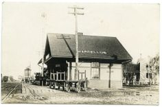 RPPC Mich Mi Michigan Marcellus Grand Trunk Railroad Station Depot Carts