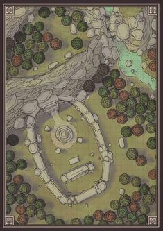 Conifer Forest hills cliffs Shrine wilderness CrossheadStudios Forest Battlemap for D&D, Dungeons and Dragons, Pathfinder, and other RPG games. Fantasy Map Maker, Fantasy World Map, Fantasy Rpg, Medieval Fantasy, Fantasy Hair, Fantasy Dragon, Rpg Wallpaper, Rpg Maker, Forest Map