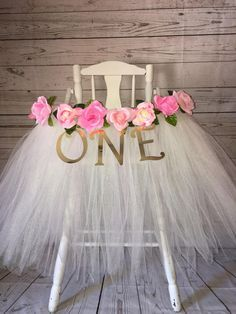 High Chair Tutu - High Chair Skirt - Ivory and Pink Highchair tutu - Highchair skirt - High Chair Skirt-1st Birthday- High Chair Tutu by AvaryMaeInspirations on Etsy