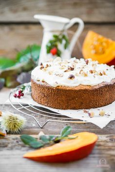 Pumpkin nut cake with topping – autumn has returned … - Pumpkin Dessert Baked Pumpkin, Pumpkin Recipes, Baking Recipes, Cake Recipes, Cake & Co, Healthy Cake, Pumpkin Dessert, Sweet Cakes, Something Sweet