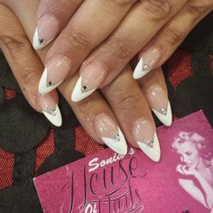 Long nails v shape white tip @soniashouseofnails