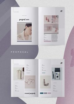 Proposal - Hasia When you need to make a great first impression, a modern and elegant template like 'Hasia' has you covered. A complete business proposal document, created by an experienced designer, containing all the sections you need to secure that con Magazine Layout Design, Book Design Layout, Design Blog, Page Design, Cover Design, Brochure Layout, Brochure Design, Portfolio Layout, Portfolio Design