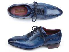 Paul Parkman Handmade Lace-Up Casual Shoes For Men Blue