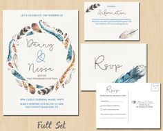Printable Bohemian Watercolour Feather #Wedding Invitation Suite including RSVP…
