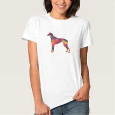Saluki Geometric Pattern Silhouette T-shirt