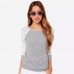 New Style Casual T-Shirts Lace Patchwork T Shirt Women Sexy Backless Women Tops Plus Size Long Sleeve Tee Shirt Femme Harajuku