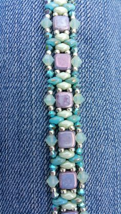 Check out this item in my Etsy shop https://www.etsy.com/listing/237688556/turquoise-and-mint-super-duo-bracelet