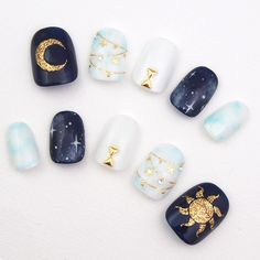 Libra: Sun and Moon – Horoscope Nail Art Ideas Perfect For Each Zodiac Sign – Photos Loading. Libra: Sun and Moon – Horoscope Nail Art Ideas Perfect For Each Zodiac Sign – Photos Korean Nail Art, Korean Nails, Sun Nails, Star Nail Art, Space Nails, Kawaii Nails, Manicure Y Pedicure, Moon Manicure, Pedicure Ideas