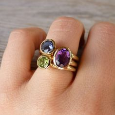 14k Yellow Gold Hyacinth Gemstone Stacking Rings, Made To Order In Your Size