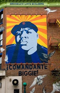 """Comandante Biggie Mural by Cern One, John Garcia and Lee Quinones. This striking mural is from the side of the Brooklyn Love Building, a residential space dedicated to """"local love and community pride"""". John Garcia, New York Street Art, Spread Love, Color Inspiration, Brooklyn, Queens, Graffiti, Nyc, City"""