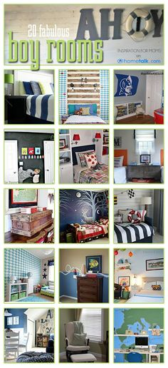 20 Fabulous Boys Bedrooms ( i like the semi-nautical theme (blue and white striped comforter)for Noah's room)
