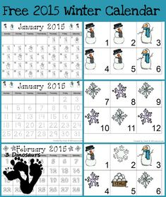 Free 2015 Winter Calendar Printable - Snowman & snowflake pattern cards and single page calendar sheet - 3Dinosuar.com