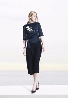 COLE-COOL-Navy-Blue-Silk-and-Satin-Top-with-White-Leather-Sakura-Blossom