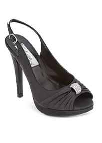 """The Avalon satin platform slingback adds a graceful finish to your special occasion attire.   Peep toe and 4 1/4"""" heel with 1"""" platformadd length to your legs.  Rhinestone decoration & lightly padded soleadd style andcomfort.  Satin upper and leather sole. Imported."""