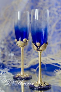Gold & Royal blue wedding champagne flutes from the от DiAmoreDS