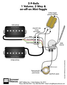 Seymour Duncan P-Rails wiring diagram - 2 P-Rails, 1 Vol, 3 Way & on-off-on Mini Toggle