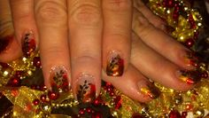Simply Beautiful nail design!! I have created a warm tone back ground, perfect for fall!!! This is my client that always wants her nails to be FUN. That is how,,, I roll,,, I love my job,,, love designing and LOVE nails! WE have FUN,,FUN<<< at B & B Salon Services LLC . Have a fabulous day my friends!!