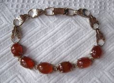 Vintage Carnelian in Gold Tone Bracelet with Leaves - Unique and Quite Beautiful