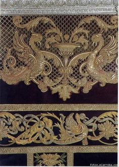 Haz click para ver la imagen a tamaño real Couture Embroidery, Indian Embroidery, Gold Embroidery, Embroidery Stitches, Belle Epoque, Thread Art, Gold Work, Fabric Manipulation, Jewel Tones