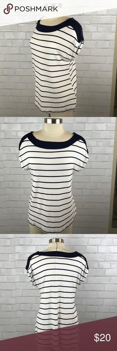 Anthro Pleione Striped Sleeveless Tee With Zippers This is a super soft sleeveless tee by Pleione. It has functioning zippers at the shoulders and a loose, hi-low cut. Dark blue stripes on white. True to size. Anthropologie Tops Blouses
