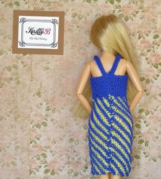 Clothes for Barbie doll Blue knit dress Unique gift by KnittyforB