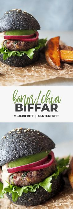 Recept: Glutenfria bönburgare med kolbröd. Mjölkfritt, vegetariskt, glutenfritt